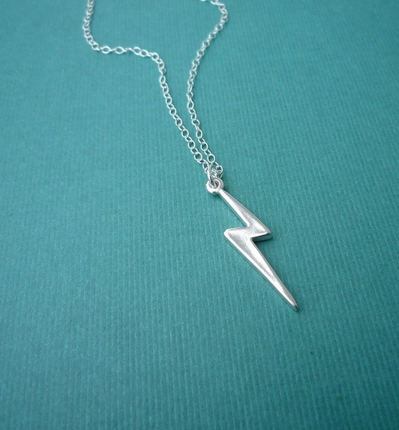 sterling silver lightning bolt necklace   charm necklace   gift for her
