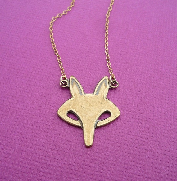 golden fox face necklace