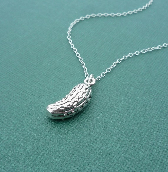 sterling silver pickle necklace by cravejewelrydesign on etsy