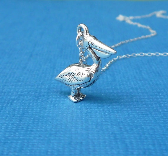 sterling silver pelican charm necklace gift for her gulf restoration network GRN