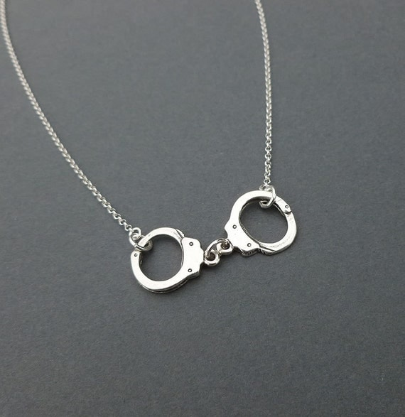 Sterling Silver Handcuff Necklace Charm Necklace Gift For