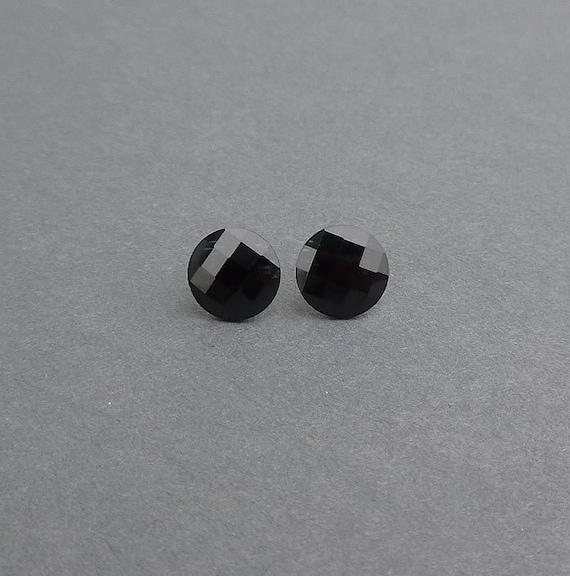 fantastic jet black swarovski rhinestone stud earrings