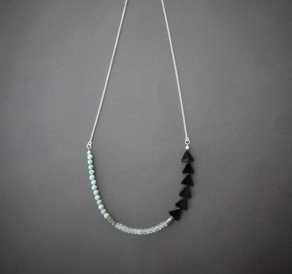 petite onyx pyrite crystal and magnesite necklace with sterling silver chain geometric