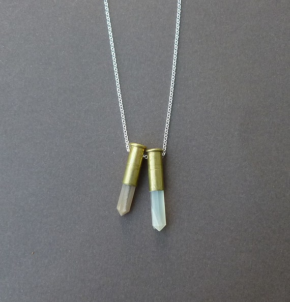 double moonstone bullet necklace with sterling silver chain