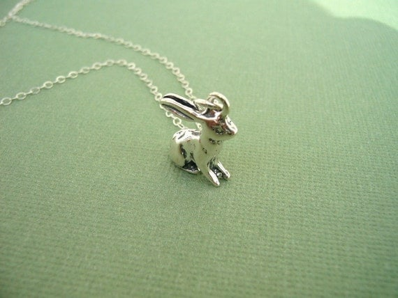 RESERVED for littlemissbooboo sterling bunny necklace