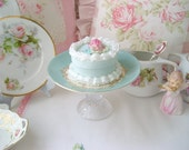 Mini Pink Roses Faux Cake with Vintage Matching Mini Cakeplate Aqua
