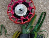 RESERVED - Pink Flower in Black Vase - Recycled Art Mixed Media Sculpture - Found Object Art Work