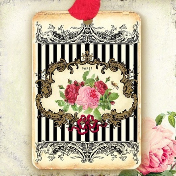 Vintage French Home Decor: French Vintage Style Gift Tags Paris Rose