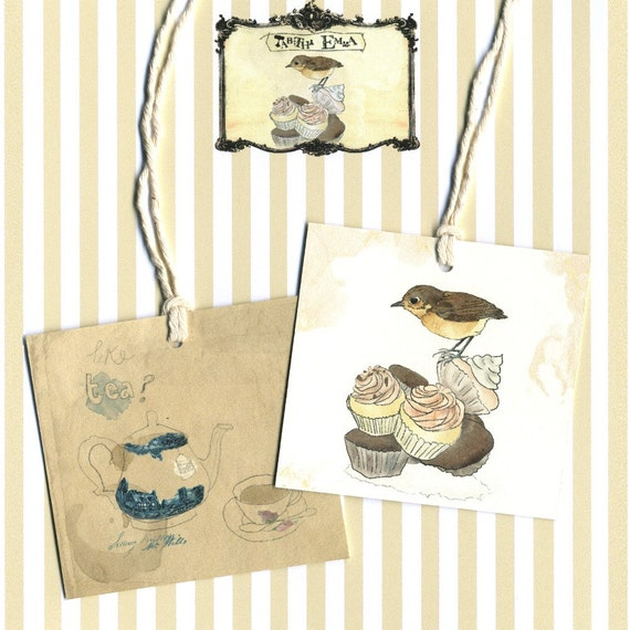 Birdy Tea Time Gift Tags Tabitha Emma Collection