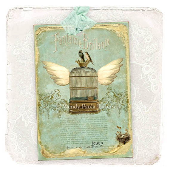 French Vintage style Shabby Distressed Flying Birdcage Gift Tags  Installation D Appartements