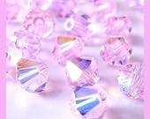 24 Swarovski Crystal 5301 4mm ROSALINE AB Aurora Borealis