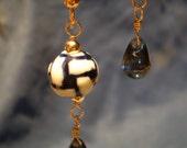 SALE - Blue Ceramic Basket Weave and Czech Glass Drop Earrings