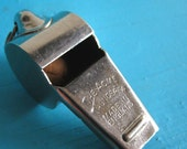 ACME 'Thunderer'  brass chrome plated whistle VERY LOUD. Made in England. Used by Police, railway men etc.