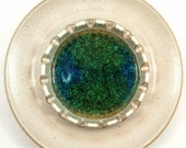 RESERVED for Licalee - White Glaze with Green-Blue Center