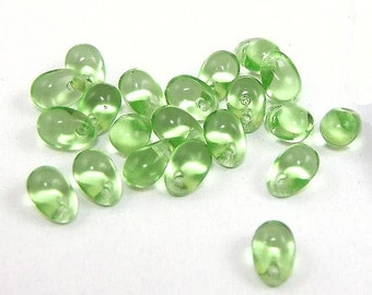 6x4mm Light Green Teardrop Beads