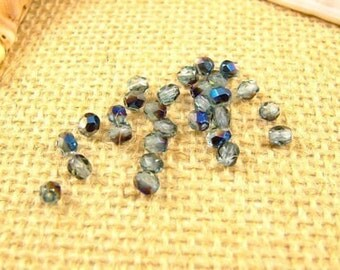 Destash 4mm Blue-Teal Czech Fire Polished Glass