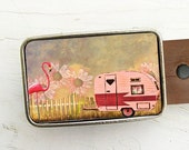 Leather Belt Buckle-Retro Trailer with Pink Flamingo