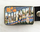 Retro California Postcard Belt Buckle