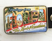 Retro Florida Postcard Belt Buckle