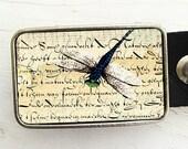 Dragonfly on Handwriting Belt Buckle