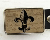 Fleur de Lis Belt Buckle, Vintage Letter Background