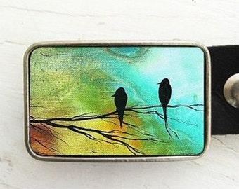 Birds in Tree Belt Buckle (on blue)- artwork by Madart