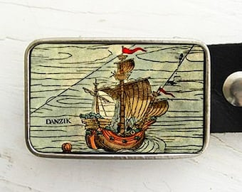 Ship at Sea Belt Buckle