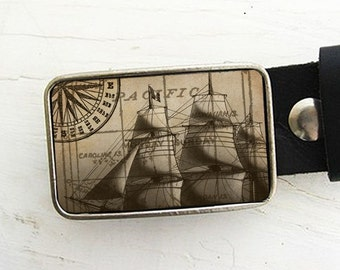 Vintage Ship Nautical Belt Buckle Father's Day Gift