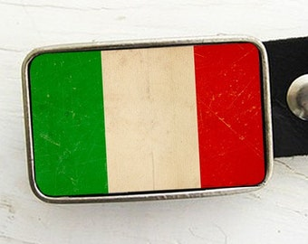 Italian Flag Belt Buckle