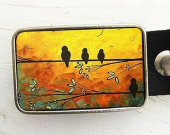 Birds in Tree Belt Buckle (orange)-featuring the artwork of Madart