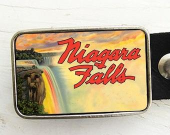 Leather Belt Buckle- Vintage Niagra Falls Advertistment