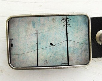 Connections (pt 1)...Bird on Telephone Wire belt buckle