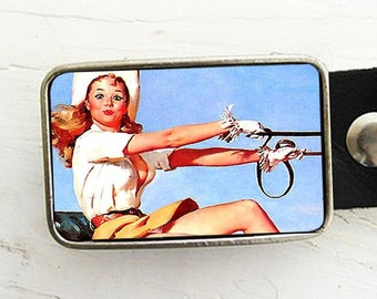 Retro Pinup Cowgirl Belt Buckle, Ride Em Cowgirl
