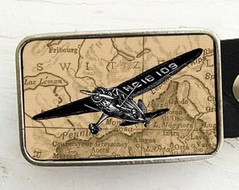 Vintage Airplane on Map Belt Buckle