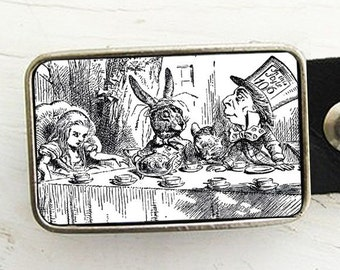 Alice In Wonderland Tea Party Belt Buckle (in b&w)