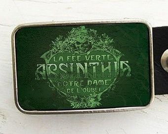 Vintage Absinthe Label Belt Buckle