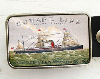 Nautical Belt Buckle- Vintage Mail Steamer