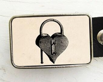 Vintage Lock Belt Buckle- Heart Shaped