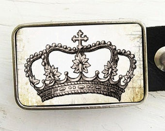 Shabby Chic Crown Belt Buckle