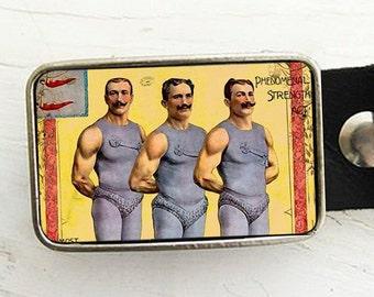 Circus Strongmen Belt Buckle