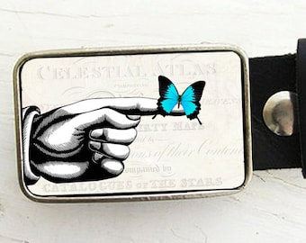 Trust- Blue Butterfly with hand Belt Buckle