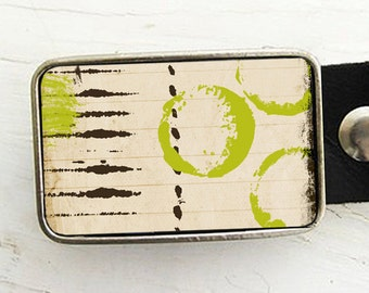 Belt Buckle for Women, Lime Green Circles Belt Buckle