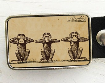 Monkey Belt Buckle, See no Evil, Hear no Evil, Speak no Evil