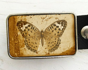 Sepia Butterfly Belt Buckle, Belt Buckle for Women