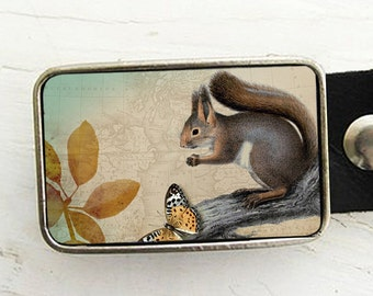 Squirrel Belt Buckle, Woodland