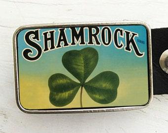 Vintage Shamrock Belt Buckle, St. Patrick's Day Belt Buckle