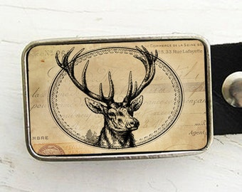 Antique Style  Deer Belt Buckle, Woodland, Autumn Harvest