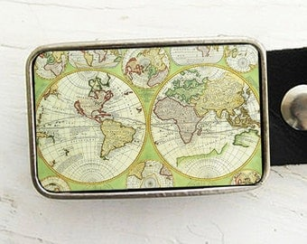 Antique World Map Belt Buckle, Green, Father's Day, Graduation Gift