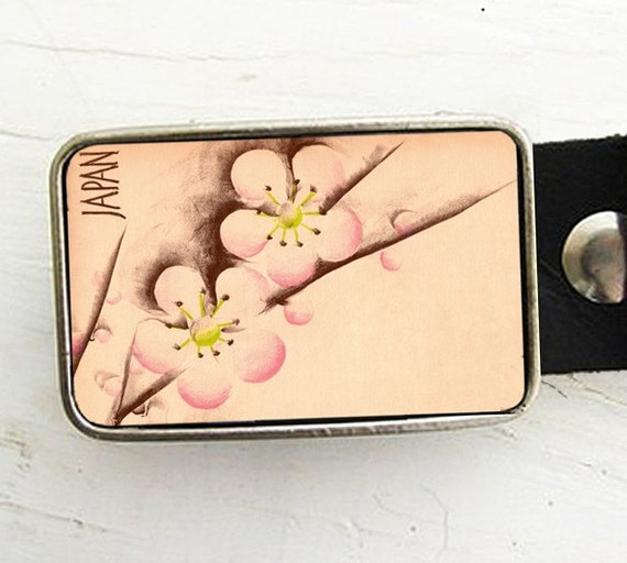 Japanese Cherry Blossom Belt Buckle
