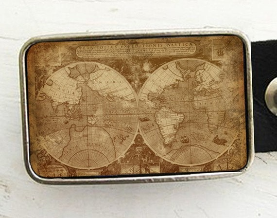 Antique World Map Belt Buckle Father's Day Gift.
